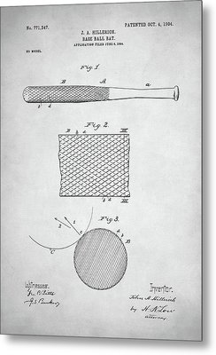Baseball Bat Patent Metal Print