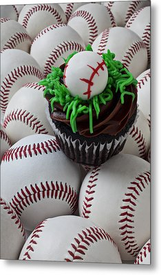 Baseball Cupcake Metal Print by Garry Gay