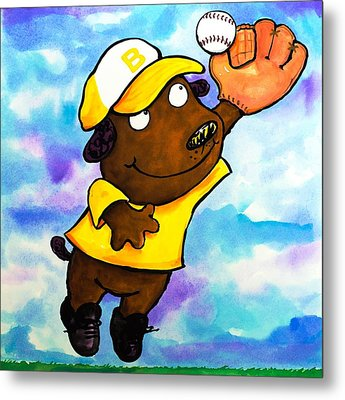 Baseball Dog 4 Metal Print
