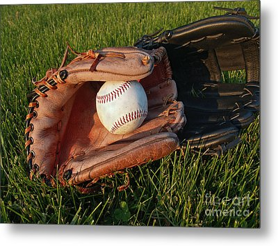 Baseball Gloves After The Game Metal Print by Anna Lisa Yoder