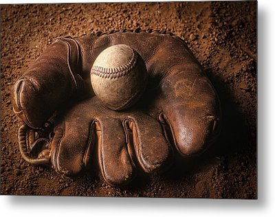 Baseball In Glove Metal Print by John Wong