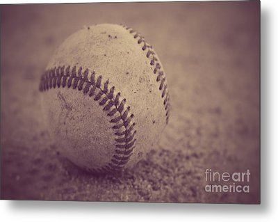 Baseball In Sepia Metal Print