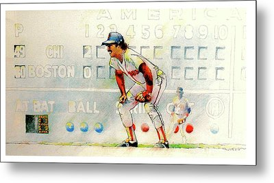 Jerry Remy At 2nd Base Metal Print