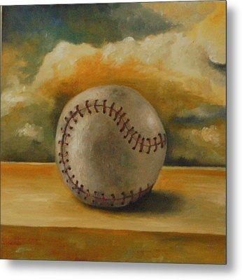 Baseball Metal Print by Leah Saulnier The Painting Maniac