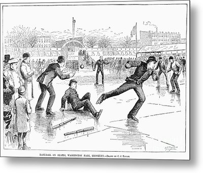 Baseball On Ice, 1884 Metal Print by Granger