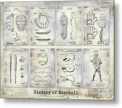 Baseball Patent History Metal Print