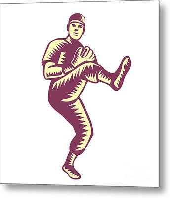 Baseball Pitcher Throwing Ball Woodcut Metal Print by Aloysius Patrimonio