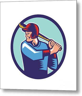 Baseball Player Batter Batting Circle Woodcut Metal Print by Aloysius Patrimonio