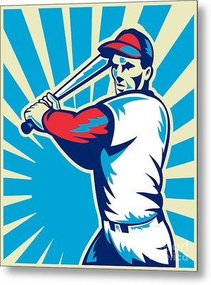 Baseball Player Batting Retro Metal Print