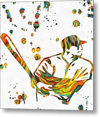 Baseball Player Paint Splatter Metal Print by Dan Sproul