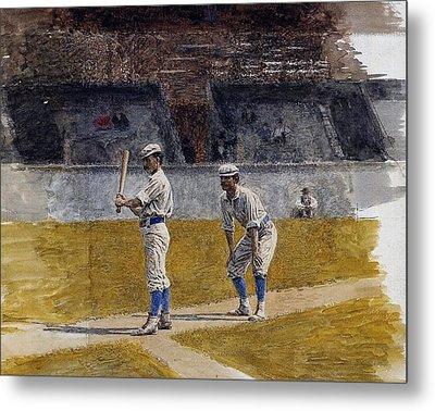 Baseball Players Practicing Metal Print