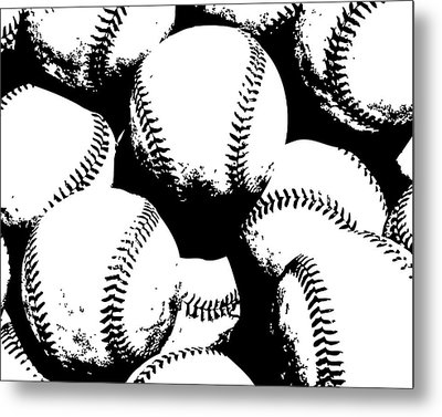 Baseball Poster Black White Metal Print by Flo Karp