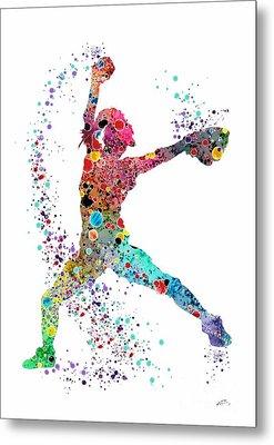 Baseball Softball Pitcher Watercolor Print Metal Print
