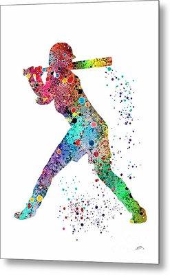 Baseball Softball Player Metal Print
