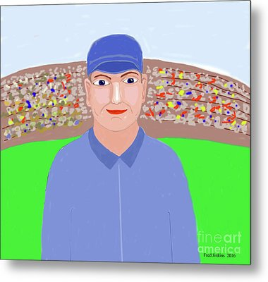 Baseball Star Portrait Metal Print by Fred Jinkins