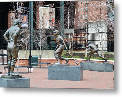Baseball Statues At Camden Yards - Baltimore Maryland Metal Print by Bill Cannon