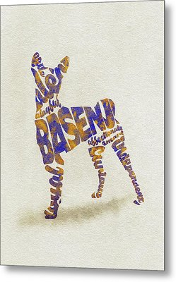 Metal Print featuring the painting Basenji Dog Watercolor Painting / Typographic Art by Inspirowl Design