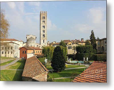 Basilica Di San Frediano With Palazzo Pfanner Gardens Metal Print by Kiril Stanchev