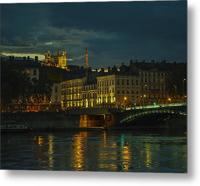 Basilica Notre Dame De Fourviere From Across The Rhone River Metal Print by Allen Sheffield