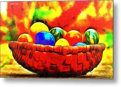 Basket Of Eggs - Pa Metal Print by Leonardo Digenio