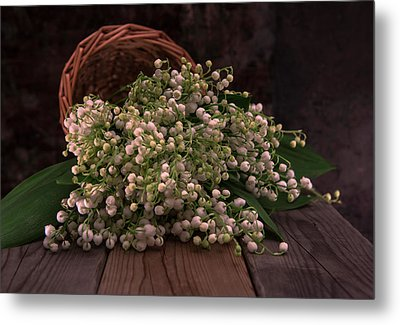 Metal Print featuring the photograph Basket Of Fresh Lily Of The Valley Flowers by Jaroslaw Blaminsky