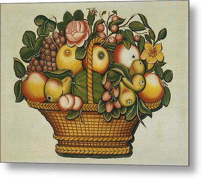 Basket Of Fruit And Flowers Metal Print by American 19th Century