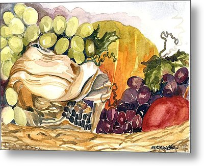 Metal Print featuring the painting Basket Of Fruit by Pat Crowther