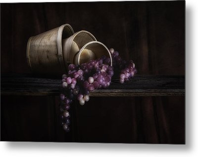 Basket Of Grapes Still Life Metal Print by Tom Mc Nemar
