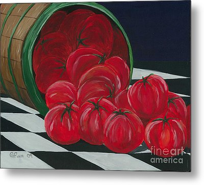 Basket Of Tomatoes Metal Print