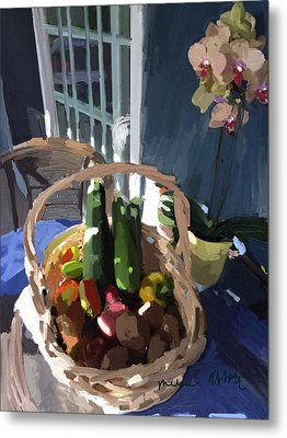 Basket Of Veggies And Orchid Metal Print