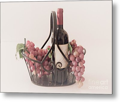 Basket Of Wine And Grapes Metal Print by Sherry Hallemeier