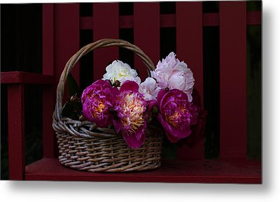 Basket On The Bench Metal Print by Rebecca Cozart