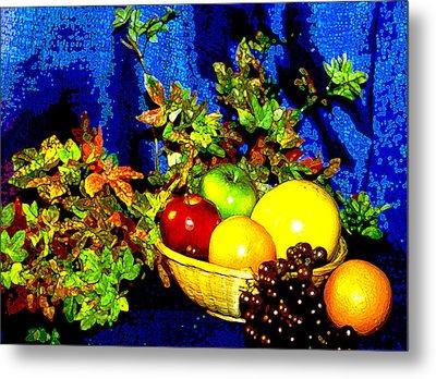 Basket With Fruit Metal Print by Nancy Mueller