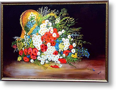 Basket With Summer Flowers Metal Print by Helmut Rottler