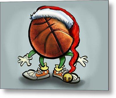 Basketball Christmas Metal Print by Kevin Middleton