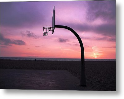 Basketball Court At Sunset Metal Print