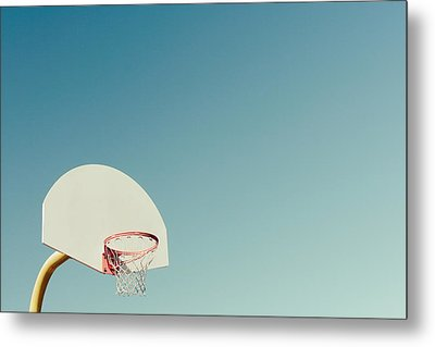Basketball Hoop With Blue Sky Metal Print by Erin Cadigan