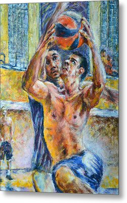 Basketball. In The Attack Metal Print by Evgeni Bazelevski