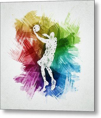 Basketball Player Art 01 Metal Print by Aged Pixel