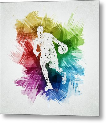 Basketball Player Art 06 Metal Print by Aged Pixel