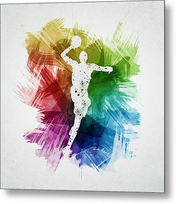Basketball Player Art 09 Metal Print by Aged Pixel