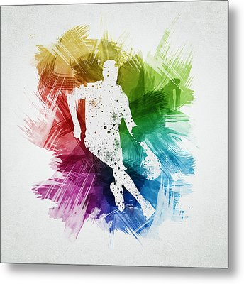 Basketball Player Art 15 Metal Print by Aged Pixel