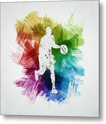 Basketball Player Art 16 Metal Print by Aged Pixel