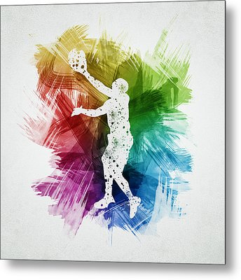 Basketball Player Art 23 Metal Print by Aged Pixel