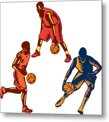 Basketball Player Dribble Woodcut Collection Metal Print by Aloysius Patrimonio