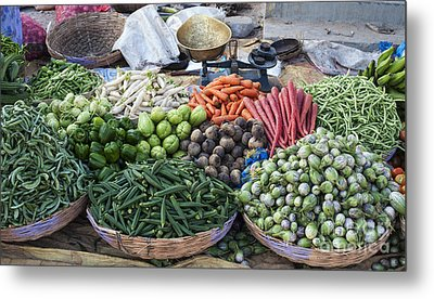 Baskets Of Produce Metal Print
