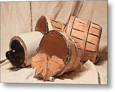 Baskets With Crock II Metal Print by Tom Mc Nemar