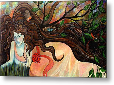 Basking With Birds Metal Print by Monica Furlow
