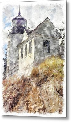 Bass Harbor Light Wc Metal Print by Peter J Sucy