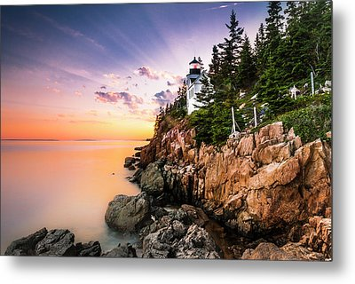 Bass Harbor Lighthouse Sunset Metal Print
